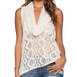 Free People Crochet Lace Sleeveless Top White S